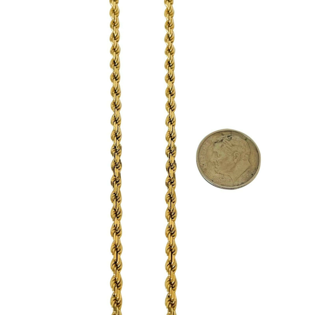 14k Yellow Gold 16g Solid Diamond Cut 3mm Rope Chain Necklace 18""
