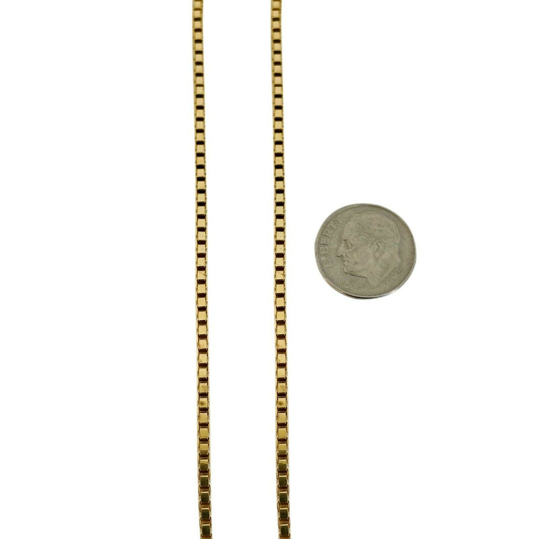 14k Yellow Gold 17.7g Solid 2mm Box Link Chain Necklace Italy 21.5""