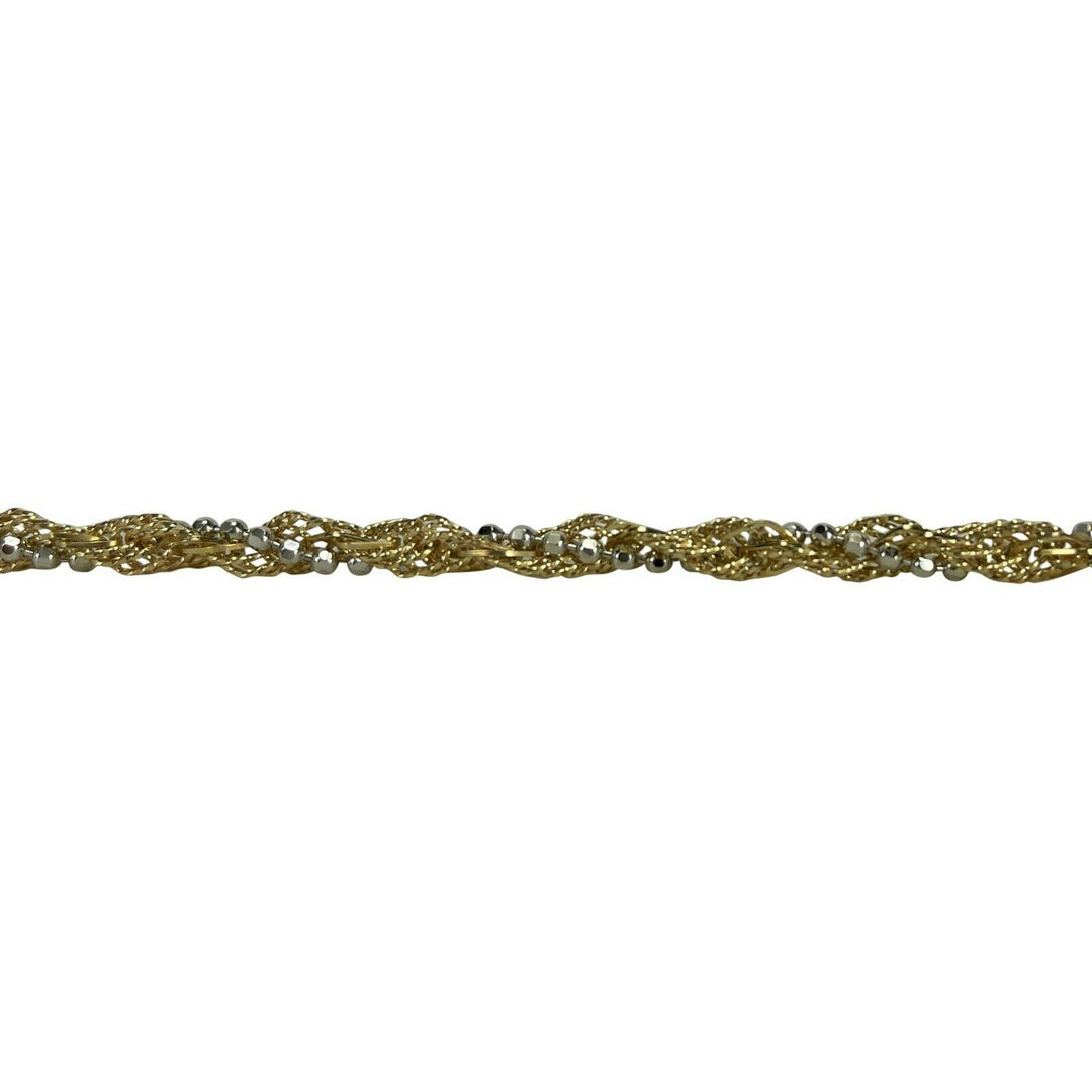 14k Yellow White Gold Two Tone 16g Fancy Twisted Link Necklace 18""