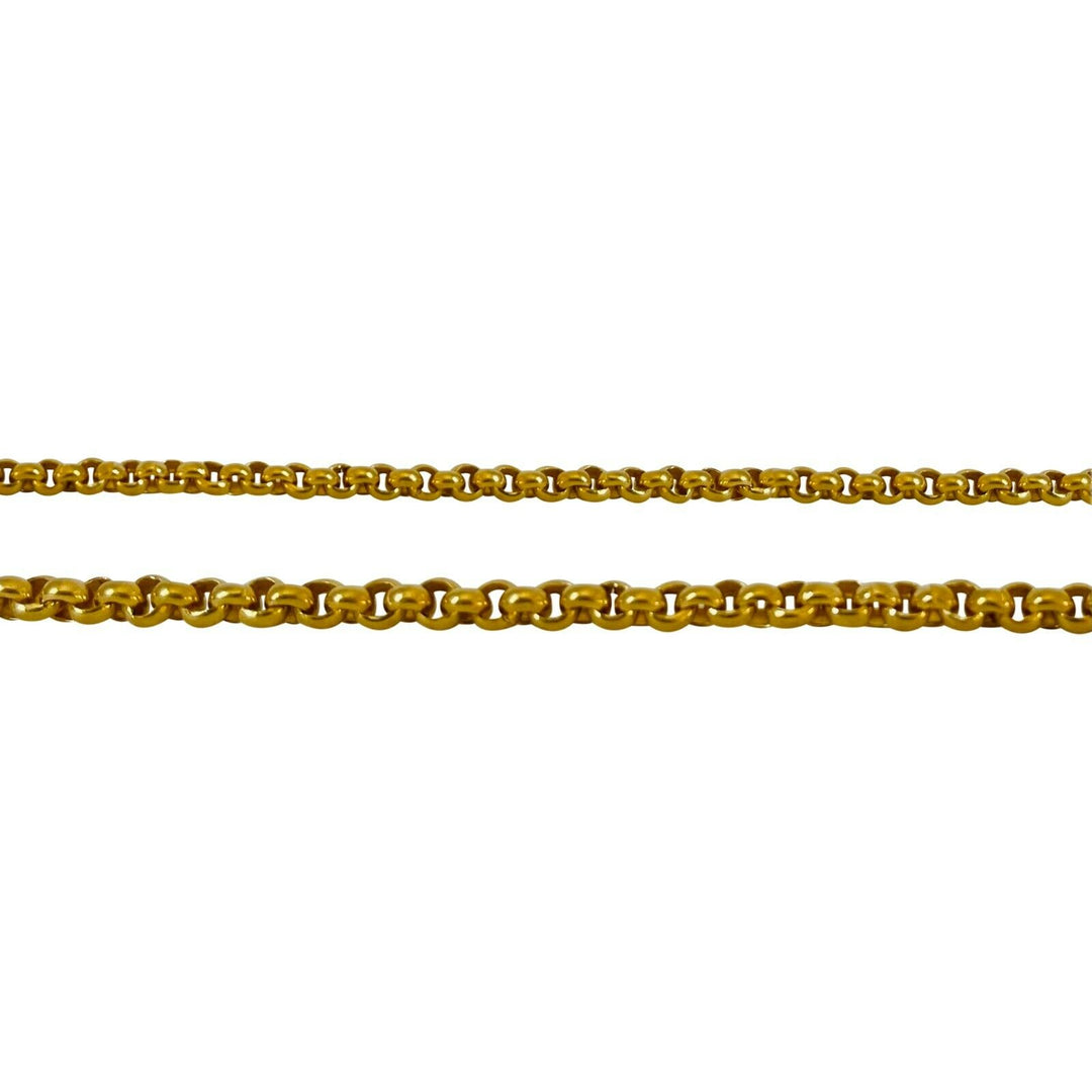 23k Yellow Gold 45.6g Solid Heavy Thai Baht Rolo Cable Link Chain Necklace 25""