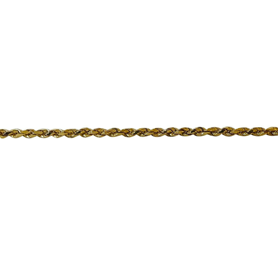 14k Yellow Gold 20g Long Solid Diamond Cut 2.5mm Rope Chain Necklace Italy 30""