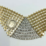 14k Yellow Gold and 2.28ct Diamond Fancy V Link Bib Necklace Italy 16.5 Inches