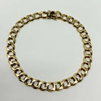 10k Yellow Gold 24.5g Solid 8.3mm Men's Curb Link Chain Bracelet 9 Inches