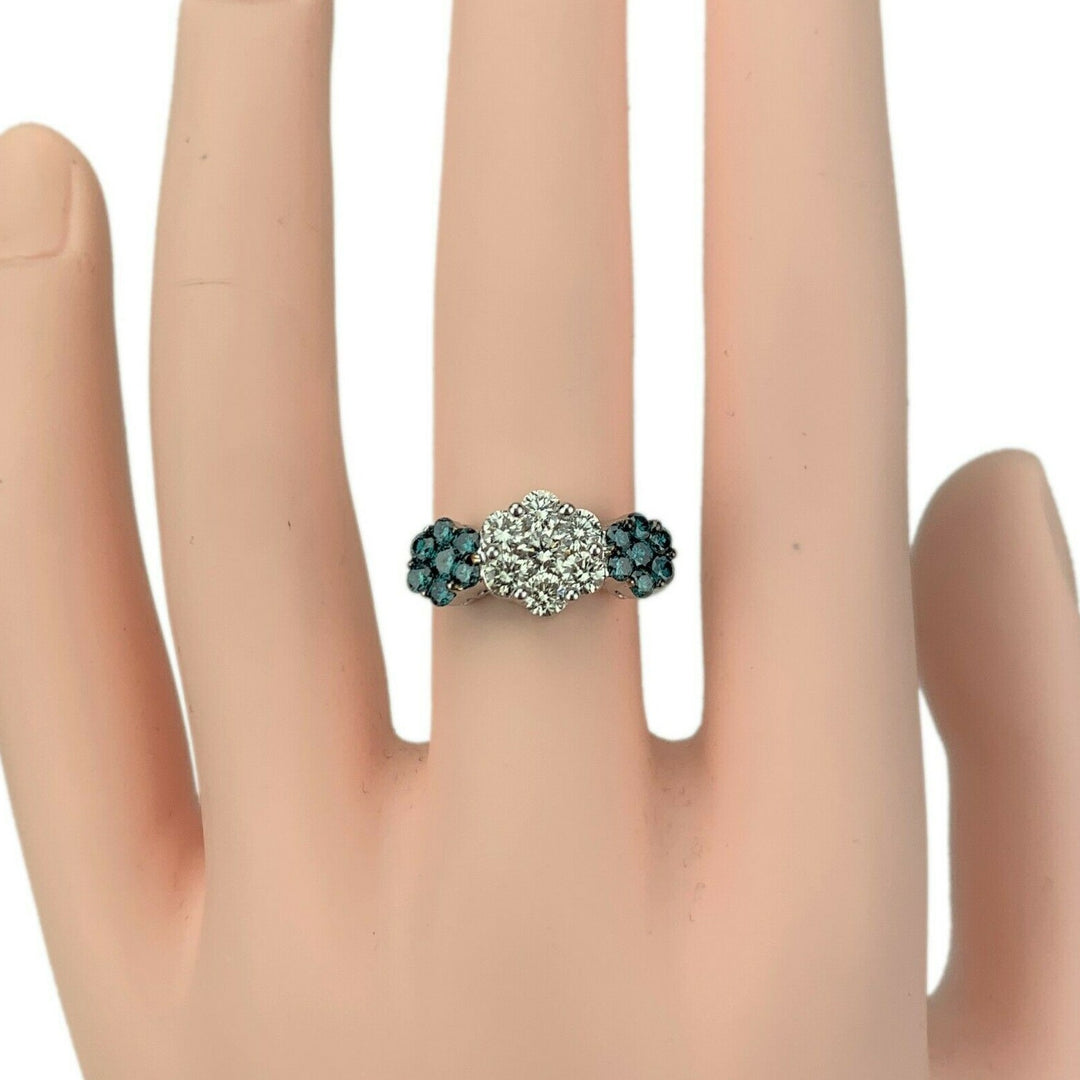 14k White Gold 1.12ct White and Blue Diamond Floral Cluster Ring Size 7.5
