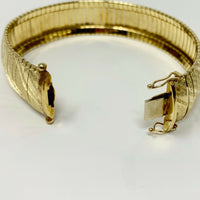 10k Yellow Gold 24.5g Vintage Wide 17mm Omega Link Bracelet Italy 7 Inches