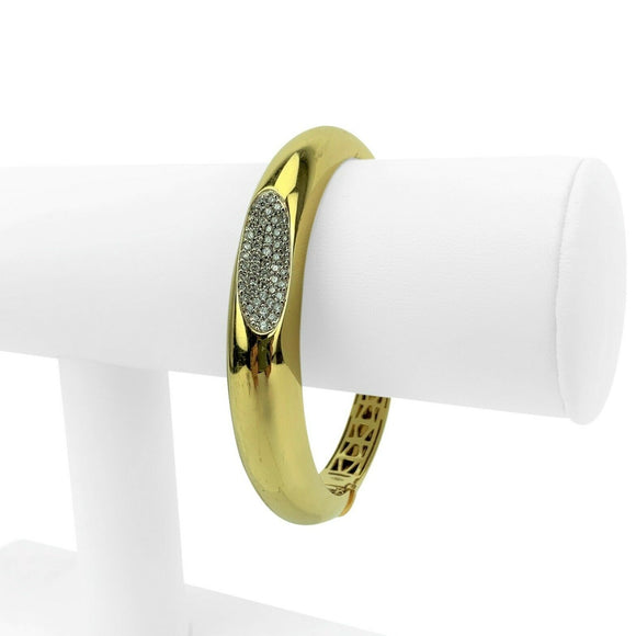 Roberto Coin Capri Plus 18k Yellow Gold and Diamond Bangle Bracelet 6.5
