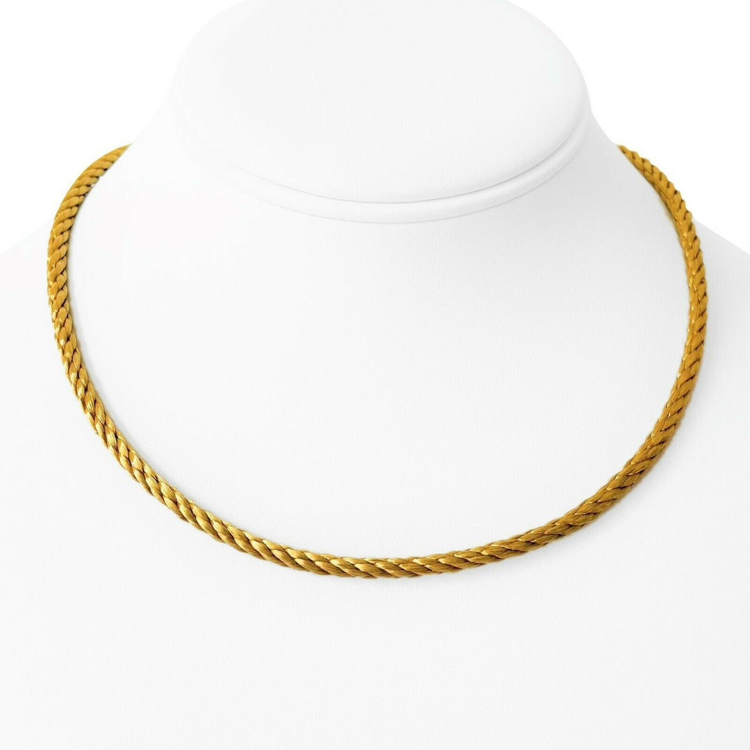 14k Yellow Gold 37g Vintage Ladies Satin Finish Braided Necklace Germany 16.5""
