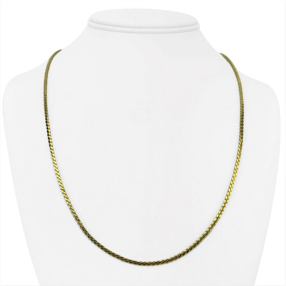 14k Yellow Gold 13g Heavy Solid 2mm Serpentine Link Chain Necklace Italy 22