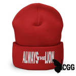 Always The Lion Cuffed Beanie Red