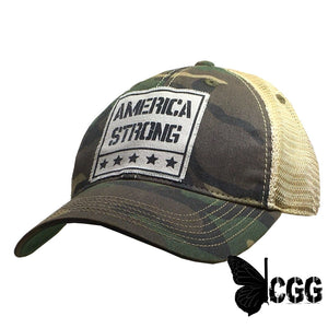 America Strong Trucker Camo Distressed Trucker