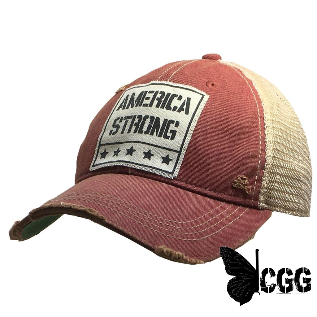 America Strong Trucker Red Distressed Trucker