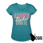 ARMED BABES UNITE Women's Tee - heather turquoise