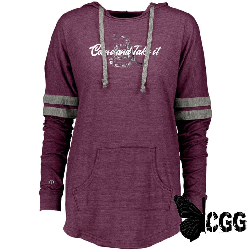 Come & Take It Hooded Pullover Vintage Maroon/vintage Grey / X-Small Sweatshirts