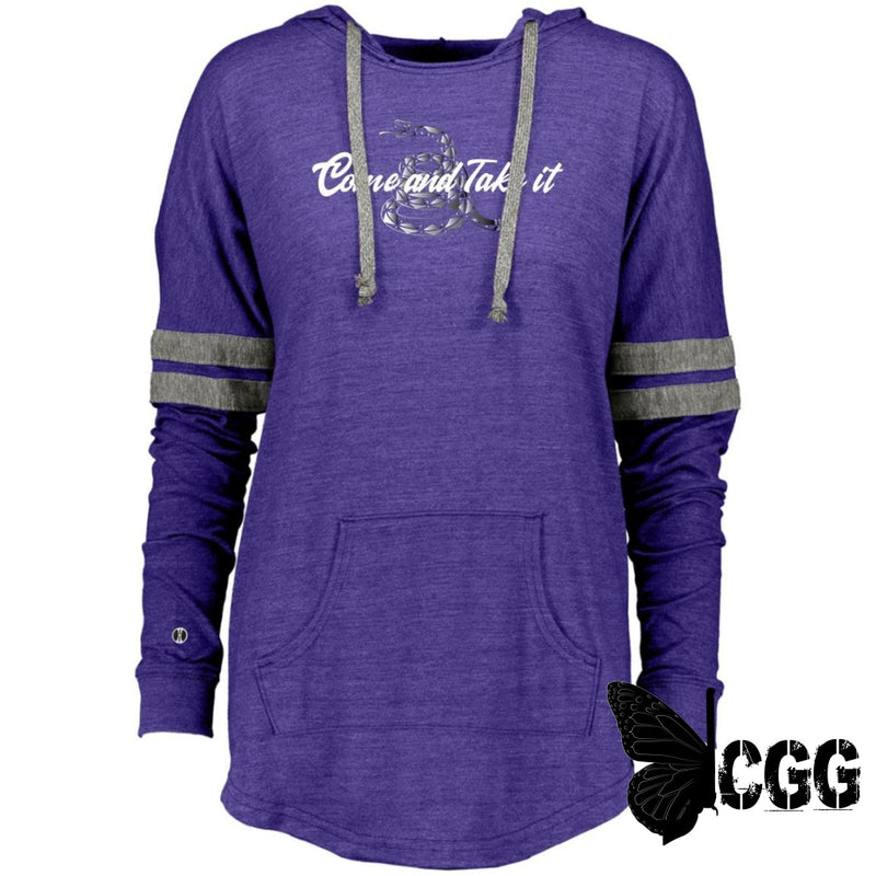 Come & Take It Hooded Pullover Vintage Purple/vintage Grey / X-Small Sweatshirts