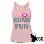 GUNS are FUN Tank - heather dusty rose