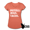 PISTOLS. JESUS. TACOS. Women's Tee - heather bronze