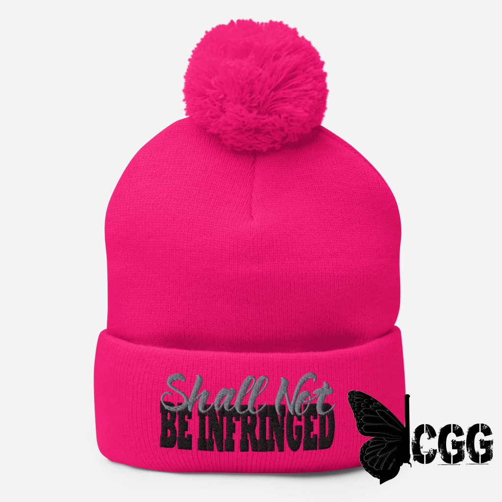 Shall Not Be Infringed Pom-Pom Beanie Neon Pink