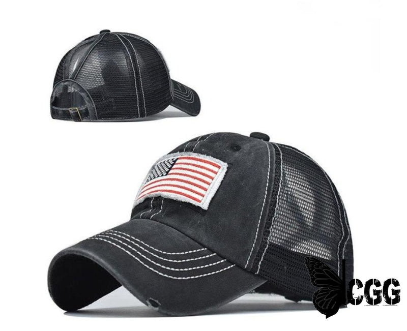 Usa Distressed Ponytail Cap