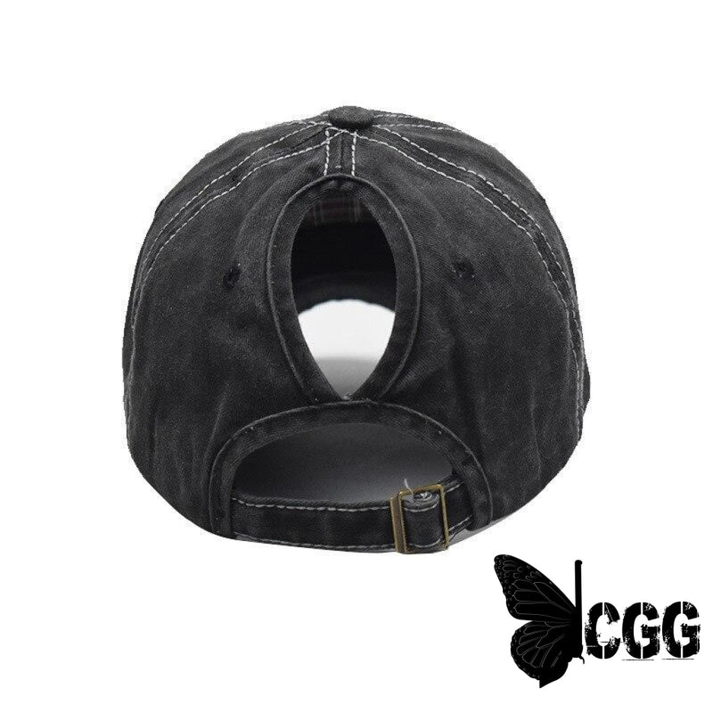 Usa Distressed Ponytail Cap Black/gray