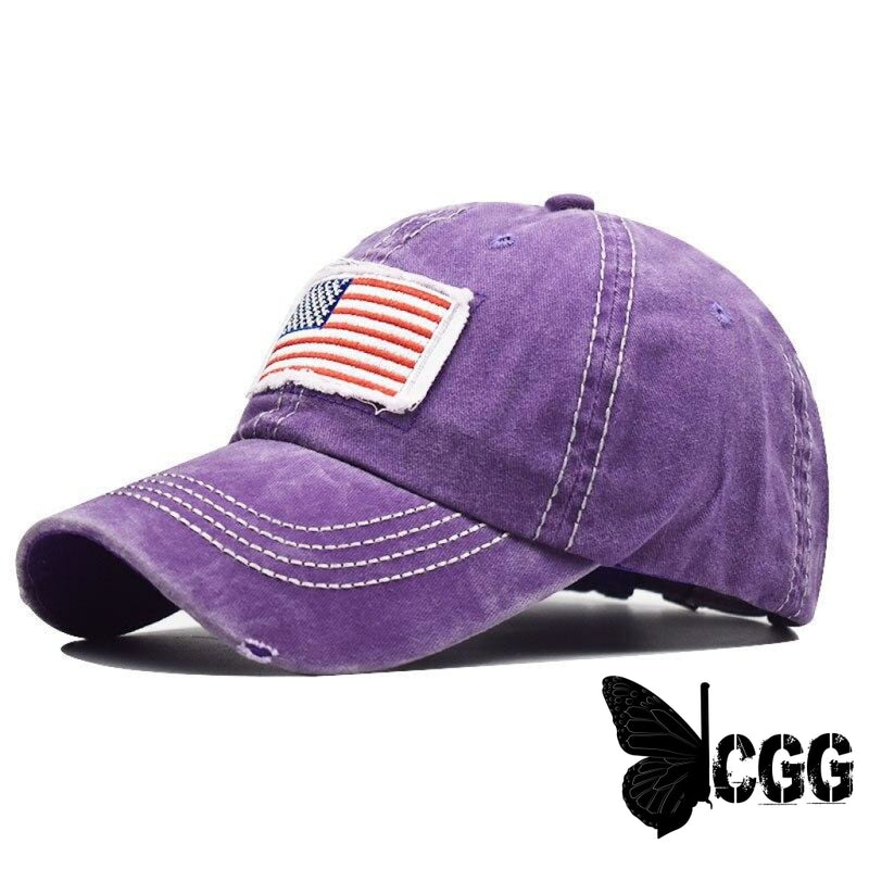 Usa Distressed Ponytail Cap Purple