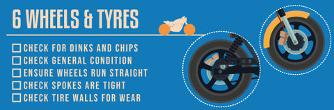 Used motorcycle wheels and tires checklist