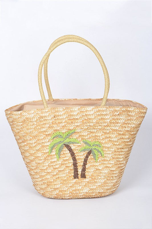 Palm Straw Tote