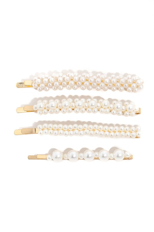 Pearly Studded Hair Clip Set