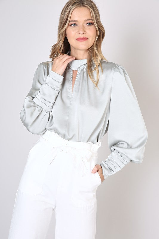 Sage Satin Blouse