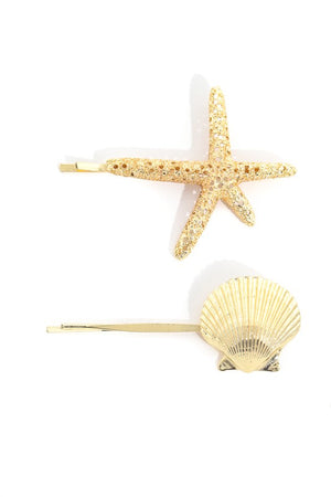 Seashell & Starfish Hair Pin Set