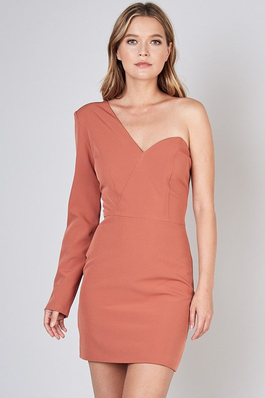 Wood Rose One Shoulder Mini