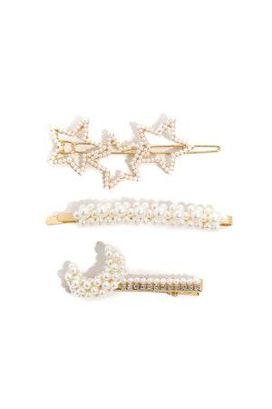 Star Moon Studded Hair Clip Set