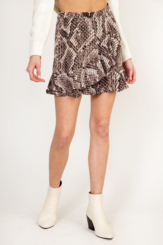 Snake Print Ruffled Mini