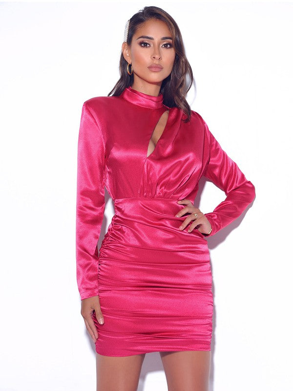 Lisa Fuchsia Satin Dress