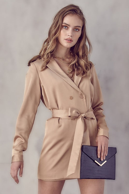 Satin Belted Blazer Dress