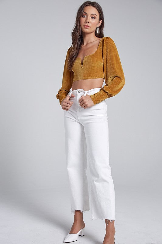 Velvet Square Neck Crop Top