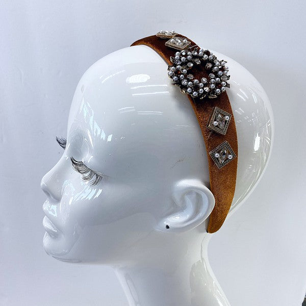 Rhinestone and Pearl Velvet Headband