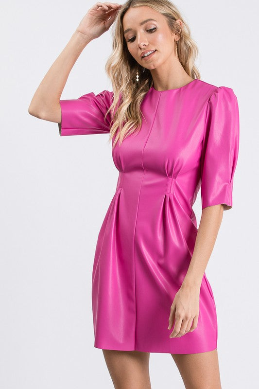 Hot Pink Vegan Leather Dress