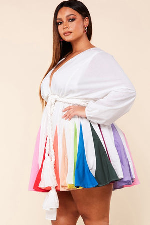 Rissie Rainbow Skater Dress Plus