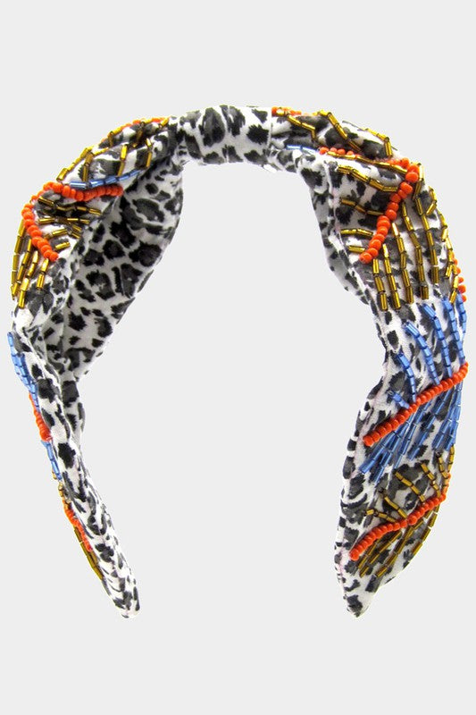 Leopard Patterned Bead Embellished Knot Headband