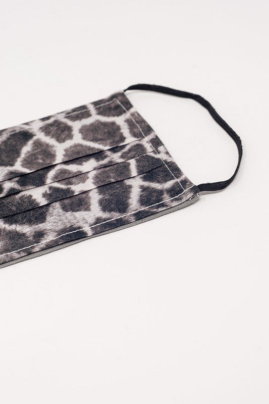 Organic Cotton Giraffe Print Grey Face Mask