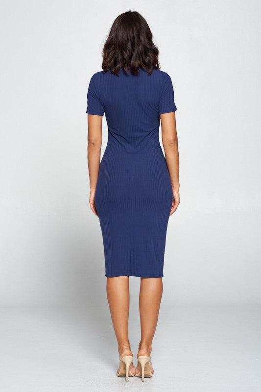 Navy Blue Knitted Rib Midi