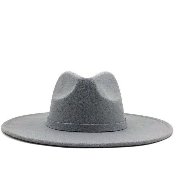 Light Grey Wide Brim Fedora Hat