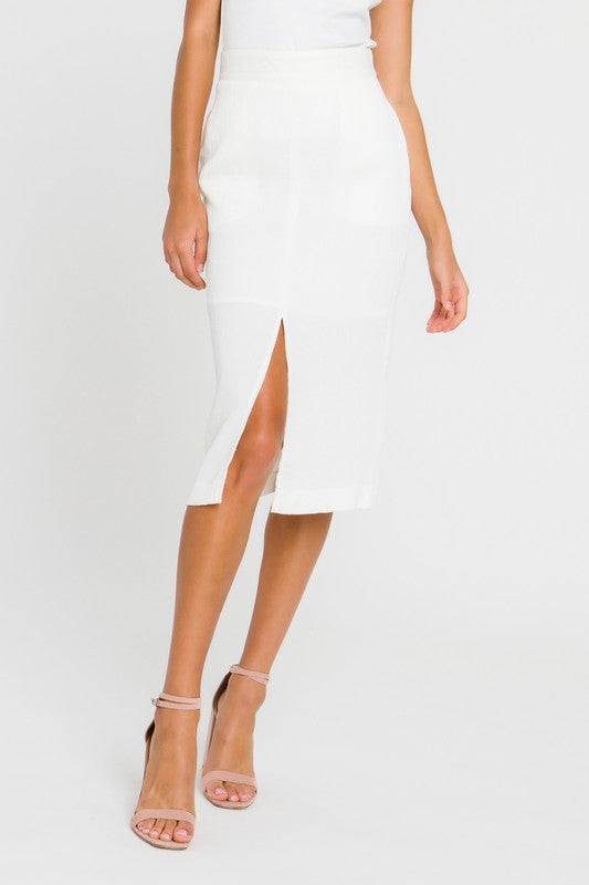 White Pencil Midi Skirt