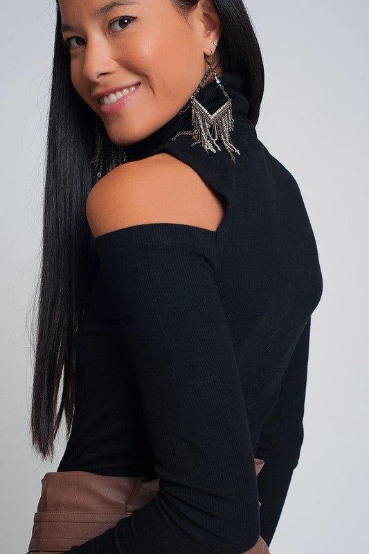 Black Knitted Cut-Out Turtle Neck Top