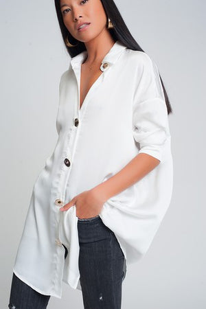 Oversized Cream Satin Blouse
