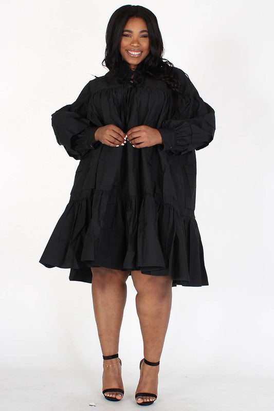Camy Smock Ruffled  Dress Plus