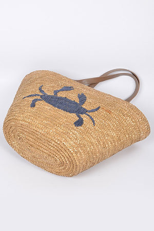 Crab Straw Tote
