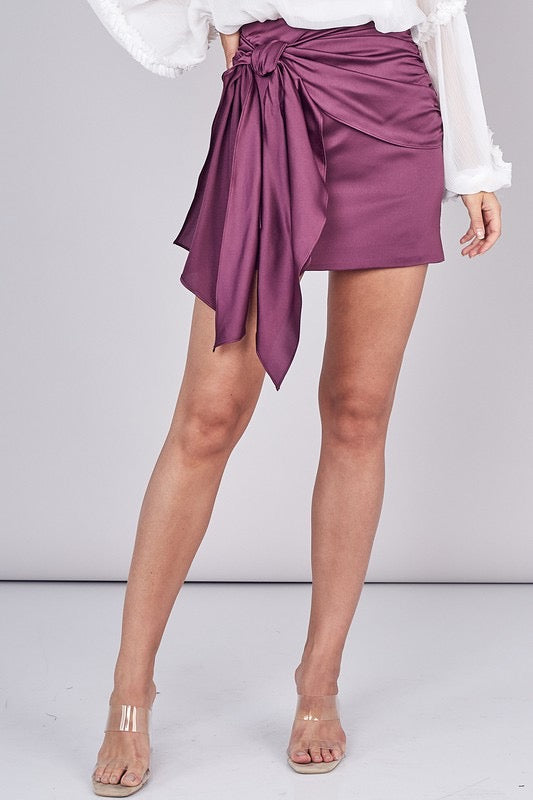 Mia Satin Wrap Skirt