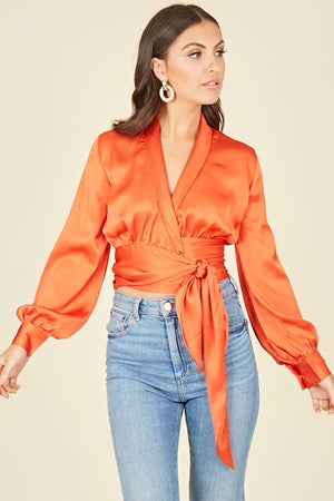 Influence Satin Wrap Top