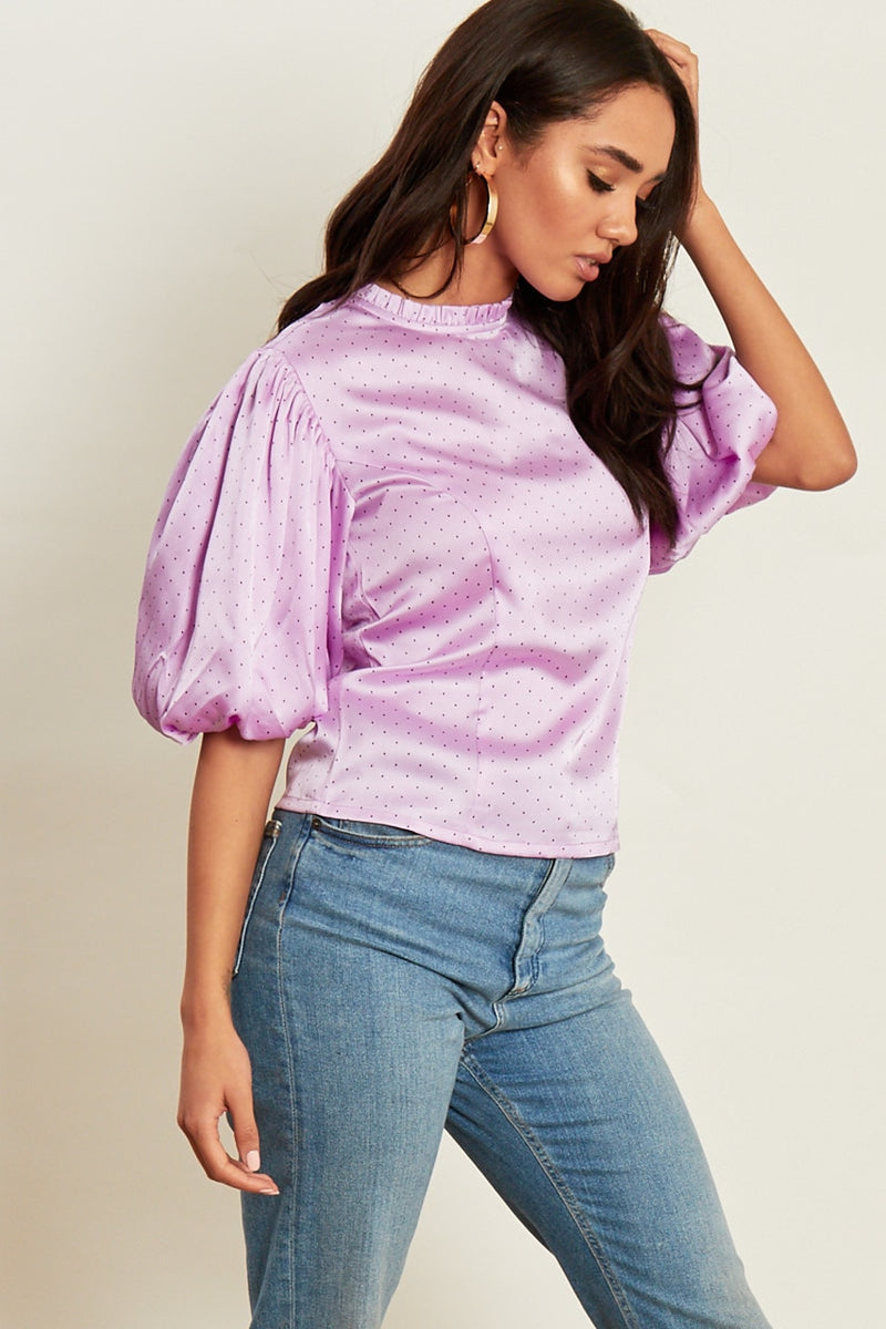 Lilac Puff Sleeve Top